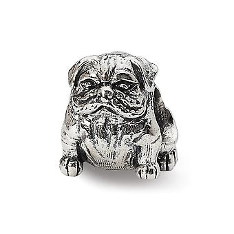 925 Sterling Silver Polished Antique finish Reflections Bulldog Bead Charm Pendant Necklace Jewelry Gifts for Women