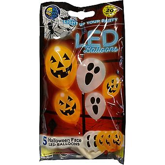 LED Halloween Ballons Orange und weiß