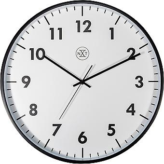 NeXtime-seinä kello-40 cm Ø-muovi-musta-' uusi '
