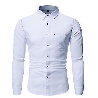 Allthemen Men's Solid Cotton Blend Business Casual Long Sleeve Shirt