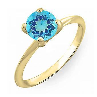 Dazzlingrock Collection 14K 6mm Round Cut Blue Topaz Solitaire Bridal Engagement Ring, Yellow Gold