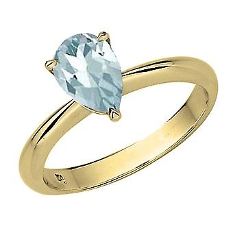 Dazzlingrock Collection 14K 8X6mm Pear Cut Aquamarine Solitaire Bridal Engagement Ring, Yellow Gold
