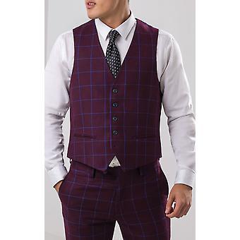 Dobell Mens Burgundy Waistcoat Slim Fit Blue Windowpane Check