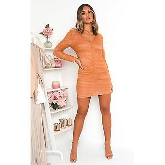 IKRUSH Womens Jax Ruched Mesh Mini Dress