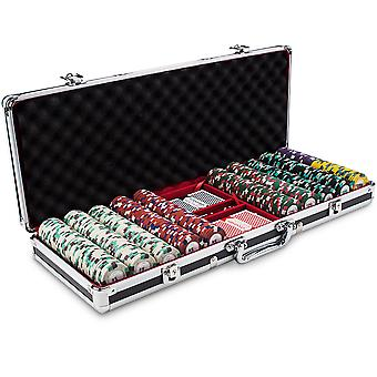 500ct Claysmith Gaming Poker Knights chip set in zwart Alum