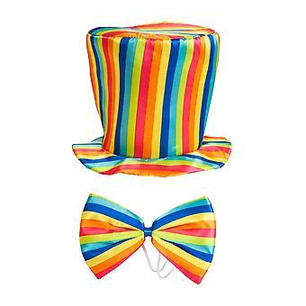 الأزياء الشريرة قوس قزح أعلى قبعة وربطة عنق القوس