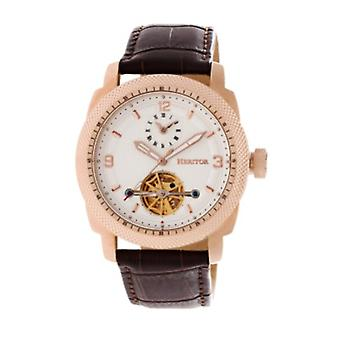 Heritor Automatic Helmsley Semi-Skeleton Leather-Band Watch - Rose Gold/White