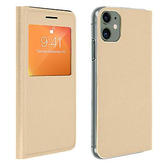 Smart view window flip case for Apple iPhone 11, slim cover - Gold
