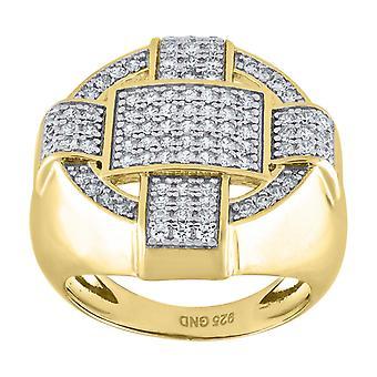 925 Sterling Zilver Geel CZ Cubic Zirconia Gesimuleerde Diamond Round Head 8gm Mens Ring Band Sieraden Geschenken voor mannen - Rin
