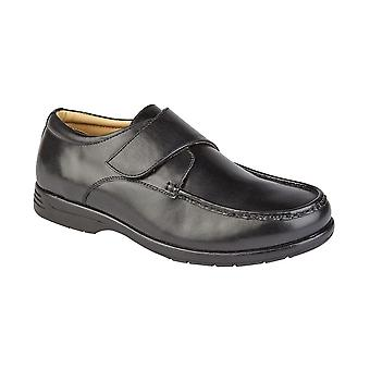 Roamers Black Leather Xxx Extra Wide Touch Fastening Casual Shoe