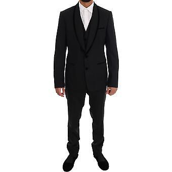 Dolce & Gabbana schwarze Wolle Stretch Slim Fit 3 Stück Anzug