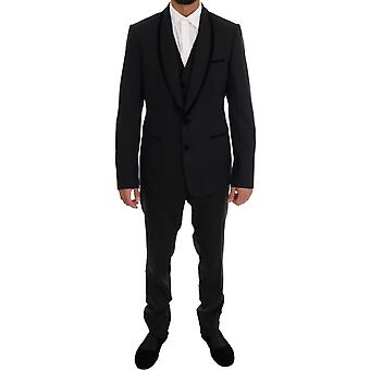 Dolce & Gabbana Black Wool Stretch Slim Fit 3-częściowy garnitur