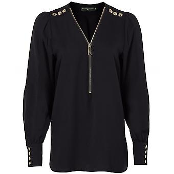 Holland Cooper Chiffon Zip Front Shirt