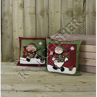 2 X Assorted Green & Red Santa & Snowman Cushions?(Grcush)