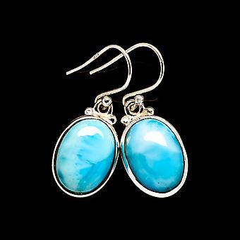 Boucles d'oreilles Larimar 1 1/4 quot; (925 Sterling Silver) - Bijoux Boho Vintage faits à la main EARR396846