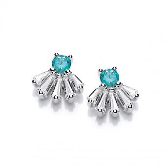 Cavendish French Regal Silver & Mint Cubic Zirconia Stud Earrings