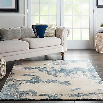 Etchings ETC03 Ivory Light Blue  Rectangle Rugs Modern Rugs