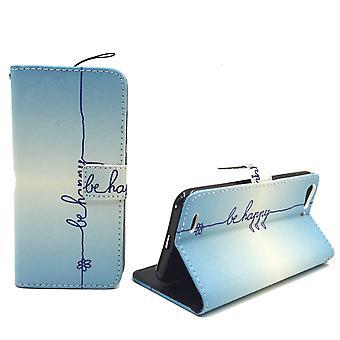 Handyhülle Tasche für Handy ZTE Blade V6 Schriftzug Be Happy Blau