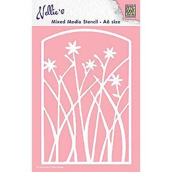 Nellie&s Valinta A6 Mixed Media Kaavain - Frame Kukat