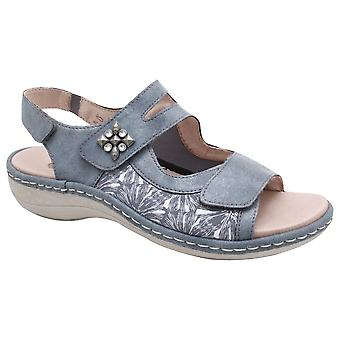 Remonte Blue Open Toe Sandal With 3x Adjustable Straps