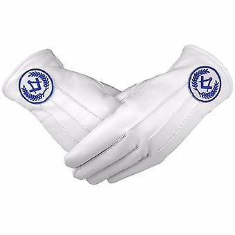 Masonic regalia white soft leather gloves square compass blue