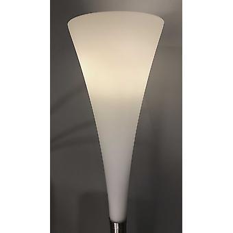 """11"""" X 11"""" X 73"""" Brushed steel Glass/Metal Floor Lamp"""