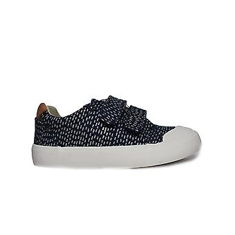 Clarks Comic Cool Navy Combination Girls Rip Tape Canvas Shoes