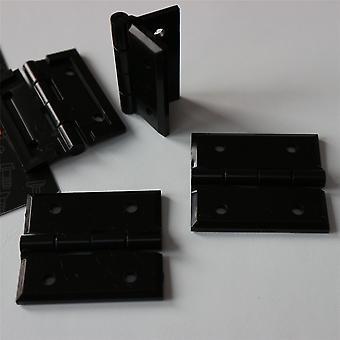 4 x Abgewinkelte L Scharnierhalterungen, Schwarz + 20x Schrauben