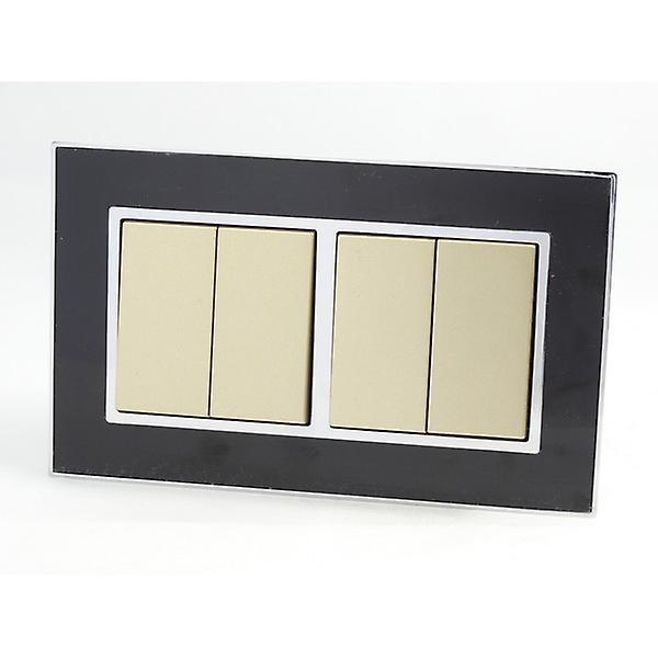 I LumoS AS Luxury Black Mirror Glass Double Frame 4 Gang 2 Way Rocker Light Switches
