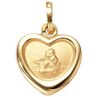 Kinderen charmes, Angel beschermengel 333 goud geel gouden matte afwerking vervoerder