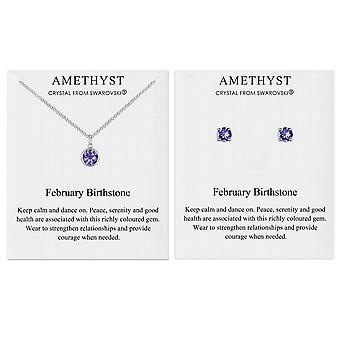 February (amethyst) birthstone necklace & earrings set created with swarovski® crystals