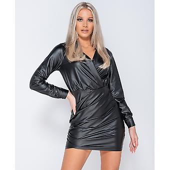 PU Wrapover Front Bodycon Mini Dress - Ladies - Black