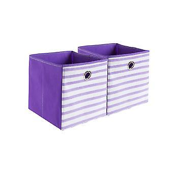 Caixa de armazenamento sem tampa listrada Tecido 2pcs 30x30x30cm