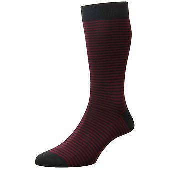 Pantherella Farringdon Classic Stripe Cotton Lisle Socks - Charcoal/Claret Burgundy