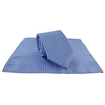 Michelsons von London vor Ort Polyester Krawatte und Pocket-Quadratmeter-Set - hell blau/weiß