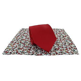 Michelsons Lontoo tavallinen Tie ja kontrasti kukka taskussa neliön Set - Red