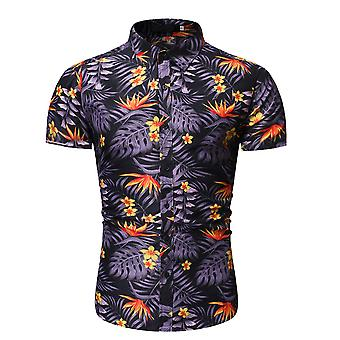 Allthemen Men's Lapel Floral Casual Short Sleeve Shirt