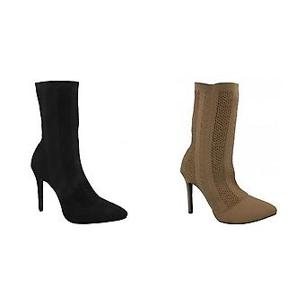 Anne Michelle Womens/Ladies High Heel Knitted Calf Boots