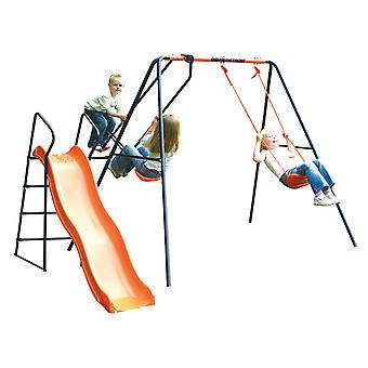 Hedstrom Saturn - Swing, planeur et Slide Set bleu/Orange 3-10 ans