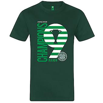 Celtic FC Official Champions 9 In A Row Mens Kids T-Shirt Football Gift
