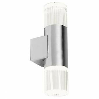 2 Light Outdoor Wall Light Polished Stainless Steel With Crystal Ip44