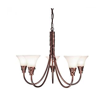 Emily Pendant Light, Copper And Glass, 5 Bulbs