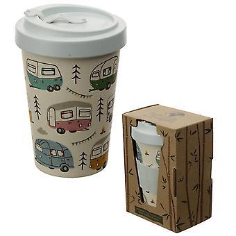 Camper reismok Bamboo Wildwood design crème/lichtblauw, bedrukt, Bamboe, capaciteit ca. 400 ml.