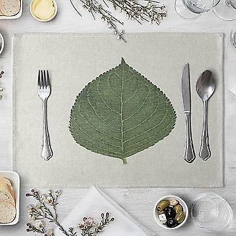 Table Mat Hand Painted Green Leaves Printed For Tables Heat Insulation Linen
