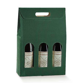 Rich Green Corrugated Wine Bottle Gift Box for 3 Bottles