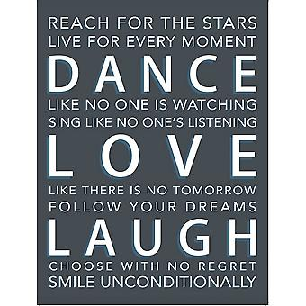 Dance Love Laugh Metal Wall Sign