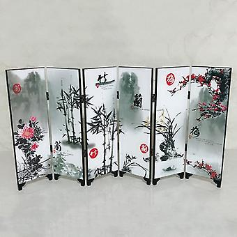6 Panel Flower Bamboo Screen 48x24x0.6cm - Home Room Divider Wood Folding Partition Screen