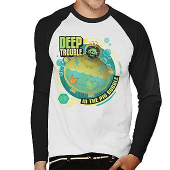 Angry Birds Deep Trouble Men-apos;s Baseball Long Sleeved T-Shirt