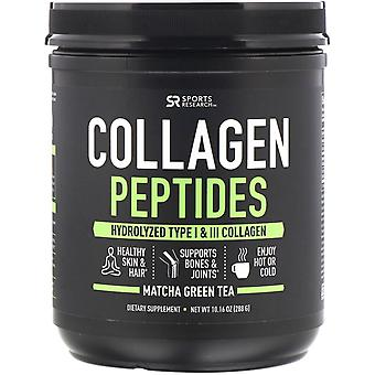 Sports Research, Collagen Peptides, Hydrolyzed Type I & III, Matcha Green Tea, 1