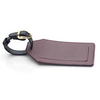 Black Leather Luggage Tag in Oxford